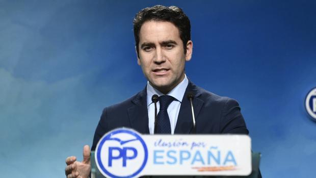 El secretario general del PP, Teodoro García Egea, ayer en la rueda de prensa en la sede nacional del partido
