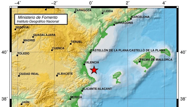 Mapa de la zona en la que se ha registrado el terremoto