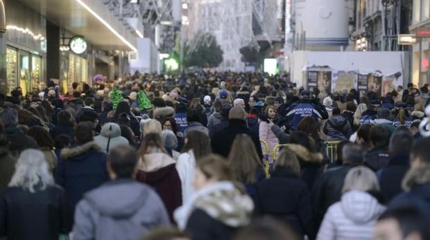 La calle Preciados, durante las Navidades pasadas