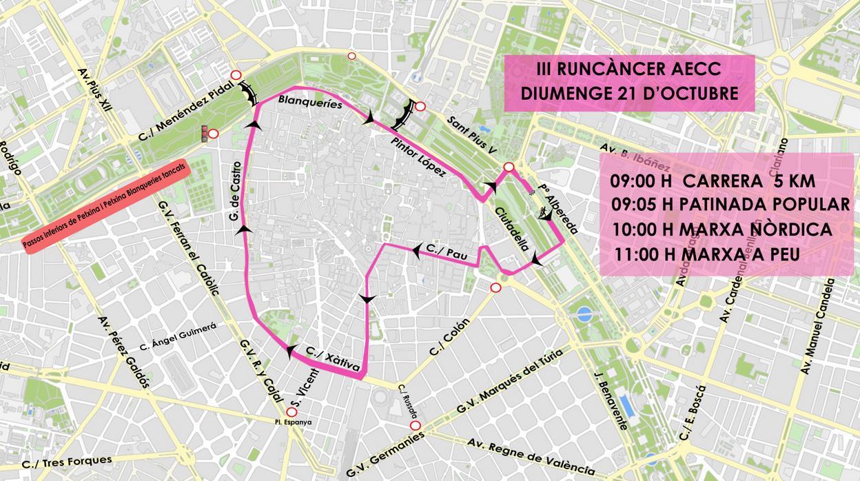 «València contra el càncer»: activitats, recorregut de la carrera i talls de trànsit del diumenge 21