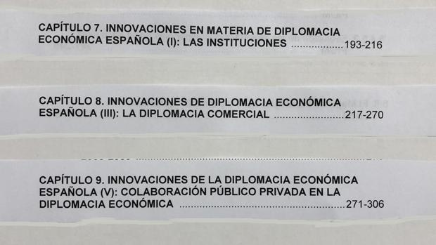 Recortes del índice de la tesis de Pedro Sánchez