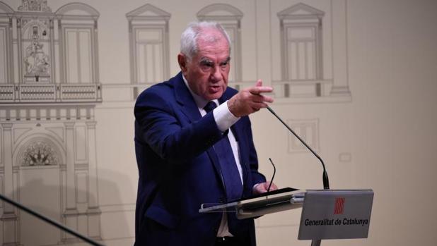 Ernest Maragall, consejero de Exteriores, en una rueda de prensa en la Generalitat