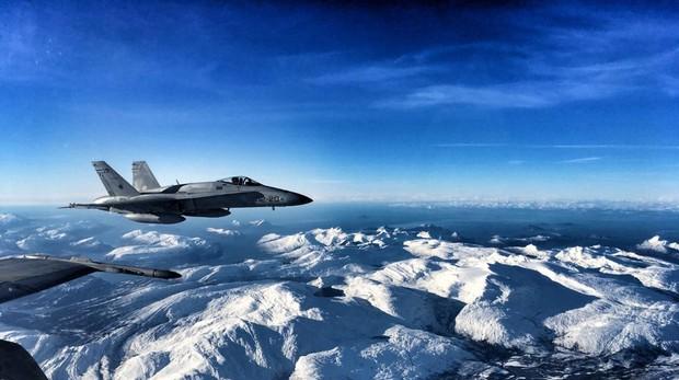 Un F-18 del Ejército del Aire sobrevuela Noruega