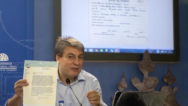 Policarpo Sánchez, presidente de la Asociación Salvar el Archivo de Salamanca, en una imagen de archivo