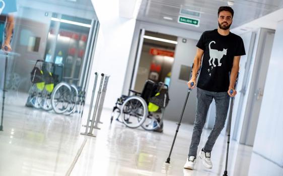 Pelayo Novo en el Hospital Nacional de Parapléjicos de Toledo, donde ha recibido el alta después de siete meses