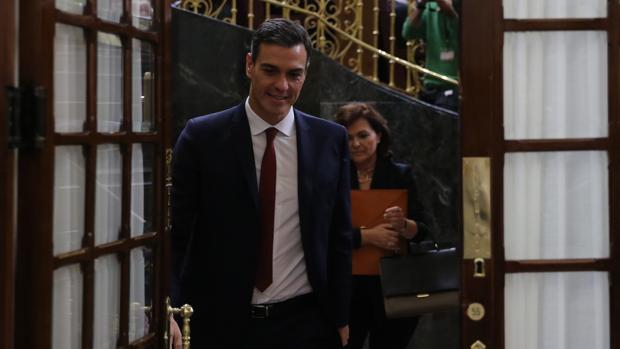 El presidente del Gobierno, Pedro Sánchez, en el Congreso ayer durante la sesión de control al Ejecutivo