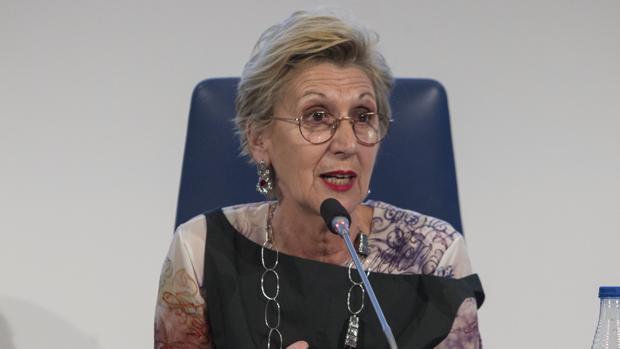 La confundadora de UPYD, Rosa Díez, durante una conferencia en Madrid, en enero