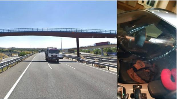 Un puente de la A-3 desde donde se lanzaron piedras el domingo; a la dcha., la luna de un coche rota