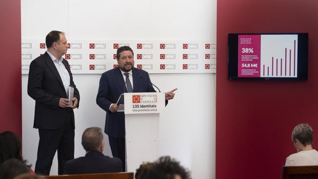 El presidente de la Diputación de Castellón, Javier Moliner, presentando los prespuestos de 2019