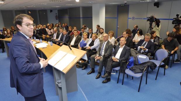 Fernández Mañueco, durante su intervención en el Comité Ejecutivo Autonómico