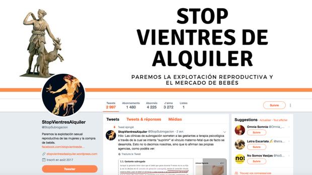 Plataforma feminista celebrando en su cuenta de Twitter la suspensión del acto en Valencia
