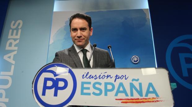 El secretario general del PP, Teodoro García Egea, ayer en la sede nacional del partido