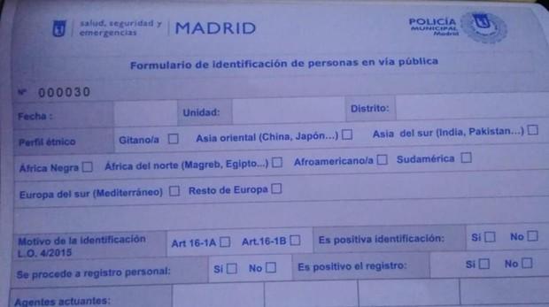 Formulario de identificación de personas en vía pública que debe rellenar la Policía Municipal