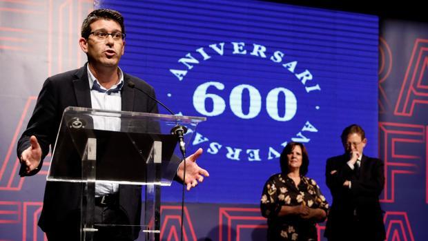 Jorge Rodriguez, durante su intervención en los actos del 600 aniversario de la Fira de Ontinyent al que asistió Ximo Puig