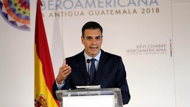 El presidente del Gobierno español, Pedro Sánchez, durante la rueda de prensa en el marco de la XXVI Cumbre de las Américas
