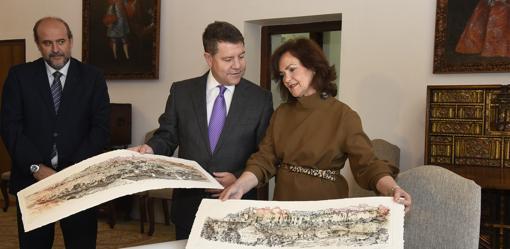 Emiliano García-Page con Carmen Calvo en el Palacio de Fuensalida
