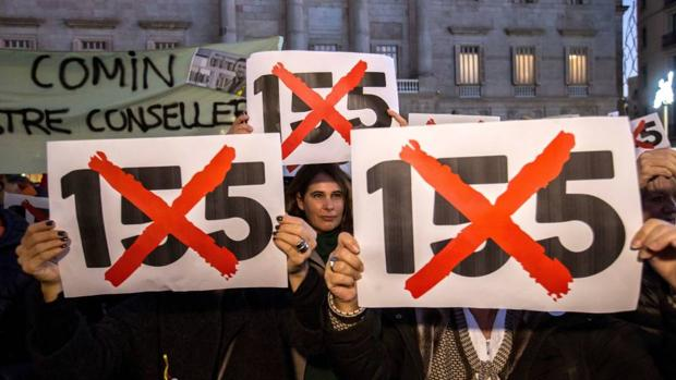 Manifestación de empleados de la Generalitat contra el 155