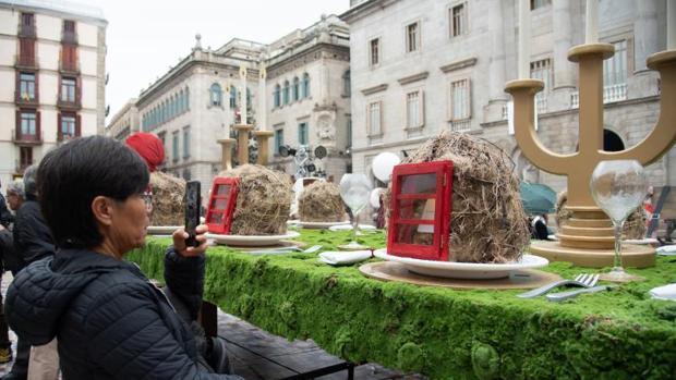 Un aspecto del pesebre de plaza Sant Jaume