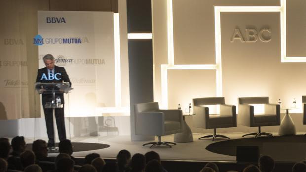 El presidente de Mutua Madrileña, Ignacio Garralda, en el momento de su intervención