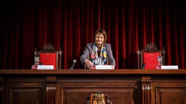 Mavi Mestre, rectora de la Universidad de Valencia, este viernes en una jornada sobre la violencia machista