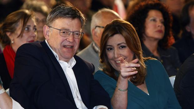 Imagen de Susana Díaz y Ximo Puig tomada en un acto del PSOE celebrado en Elche