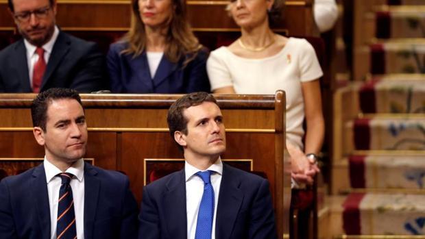 El presidente del PP Pablo Casado, hoy en el hemiciclo del Congreso de los Diputados