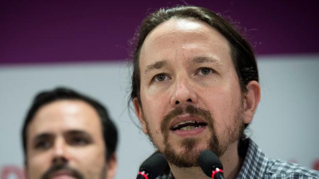 El líder de Podemos, Pablo Iglesias, compareciendo en la sede de Podemos en Madrid, tras las elecciones andaluzas