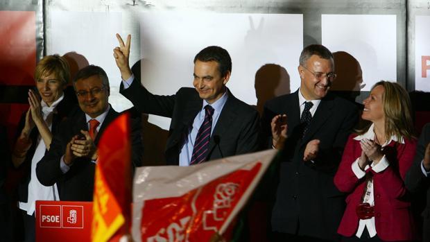 Imagen de archivo de la noche electoral de las elecciones de 2008, que ganó Zapatero