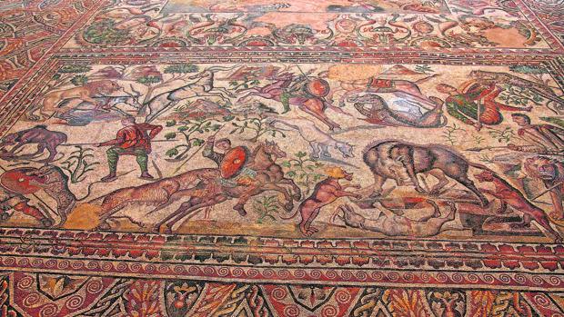 Uno de los mosaicos de la villa romana palentina de La Olmeda