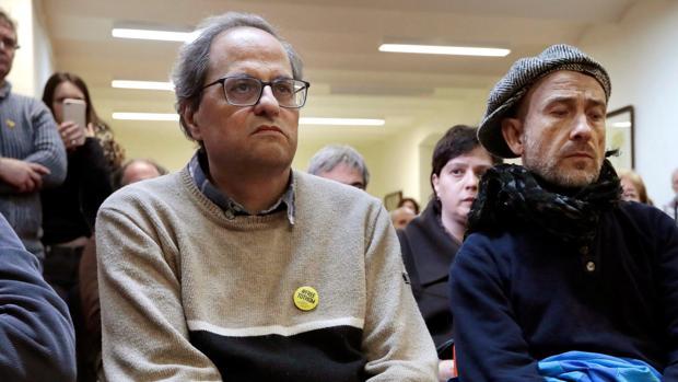Quim Torra, en Barcelona, tras haber iniciado hoy un ayuno de 48 horas para solidarizarse con los políticos presos