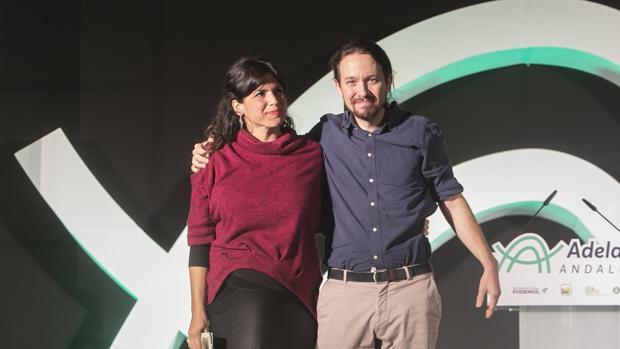 Mitin de Adelante Andalucía con Pablo Iglesias y Teresa Rodríguez, en Córdoda, durante la campañpara las andaluzas