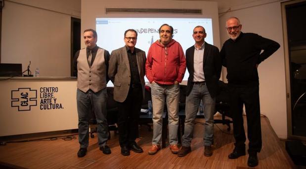 Pau Guix, J. M. Nieto, Ramón de España, Pau Guix y Pablo Planas, ayer en el bar de CLAC