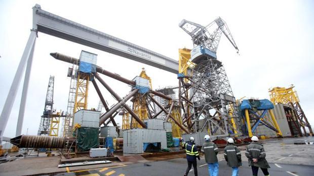 Astilleros de Navantia en la ría de Ferrol, en la imagen el centro de trabajo de Fene