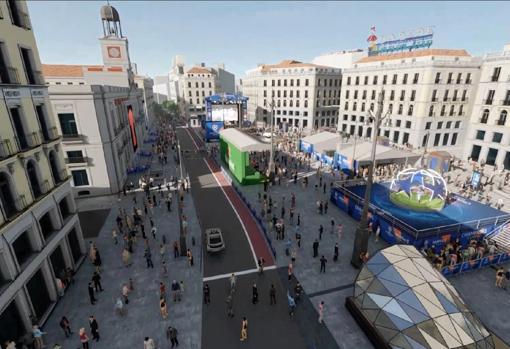 Simulación de cómo quedará el «Champions Festival» en la Puerta del Sol