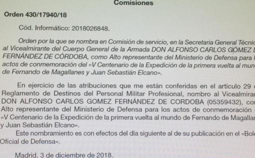 Texto del Boletín Oficial de Defensa por el cual se le concedió el empleo de Alto Representante del Ministerio de Defensa