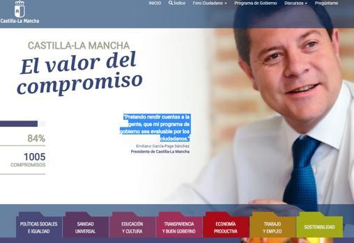 Página principal del Portal de Compromisos del Gobierno de Castilla-La Mancha