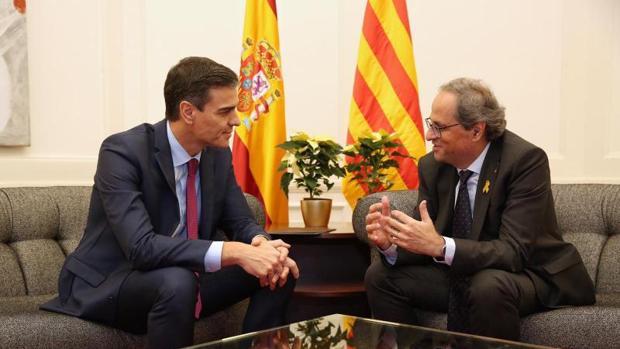 Sánchez y Torra en la reunión del pasado jueves en Barcelona
