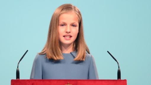 Acto de lectura de la Constitución, en el que la Princesa de Asturias habló por primera vez en público