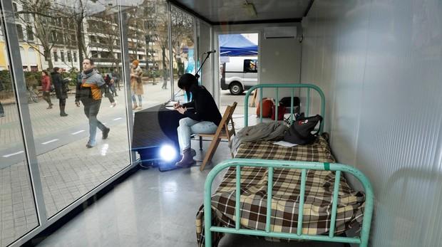 La celda del colectivo de presos etarras, instalada en el centro de Pamplona