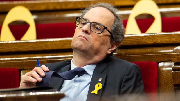 El independentista Quim Torra, durante una sesión del Parlamento de Cataluña