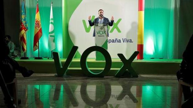 Imagen de Santiago Abascal en el acto celebrado por Vox en Valencia en octubre del pasado año