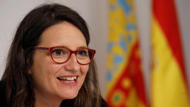 La vicepresidenta del Consell, Mónica Oltra, este viernes en rueda de prensa