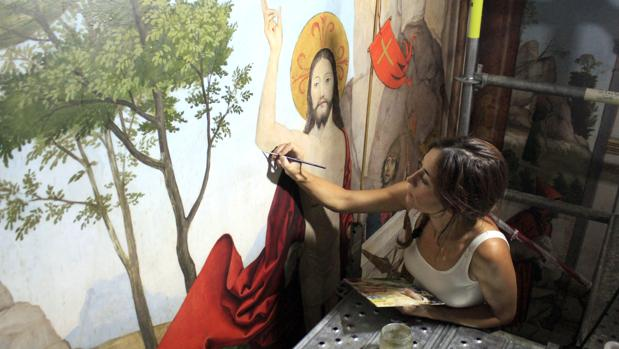 Un momento de la restauración de la sala capitular de la catedral de Toledo