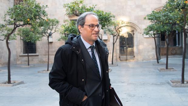 El presidente de la Generalitat, Quim Torra, tras la reunión ejecutiva del Govern, ayer