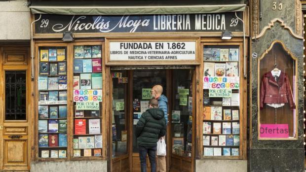 Fachada de la librería Nicolás Moya, en la calle de Carretas 29 de Madrid