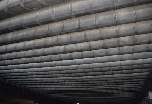 Cubierta de la sala de ensayos en la que Fisac optó con vigas-hueso inventadas por él