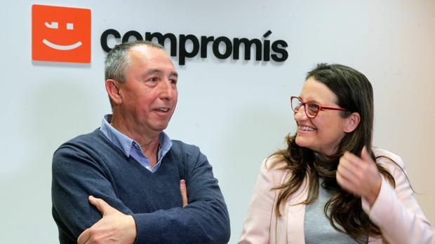 Joan Baldoví y Mónica Oltra, momentos antes de iniciarse la comisión de coordinación institucional de Compromís