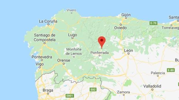 La localidad marcada es Toreno, en León