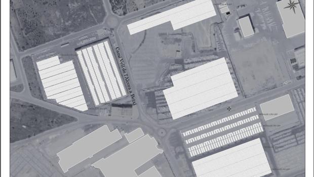 Plano del lugar donde se ubicará la mayor planta fotovoltaica de Europa en Onda (Castellón)