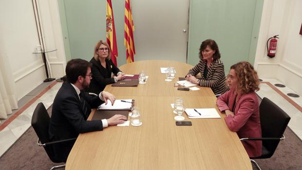 Aragonés, Artadi, Calvo y Batet, en la reunión de Barcelona en diciembre; del encuentro de ayer no se facilitaron imágenes